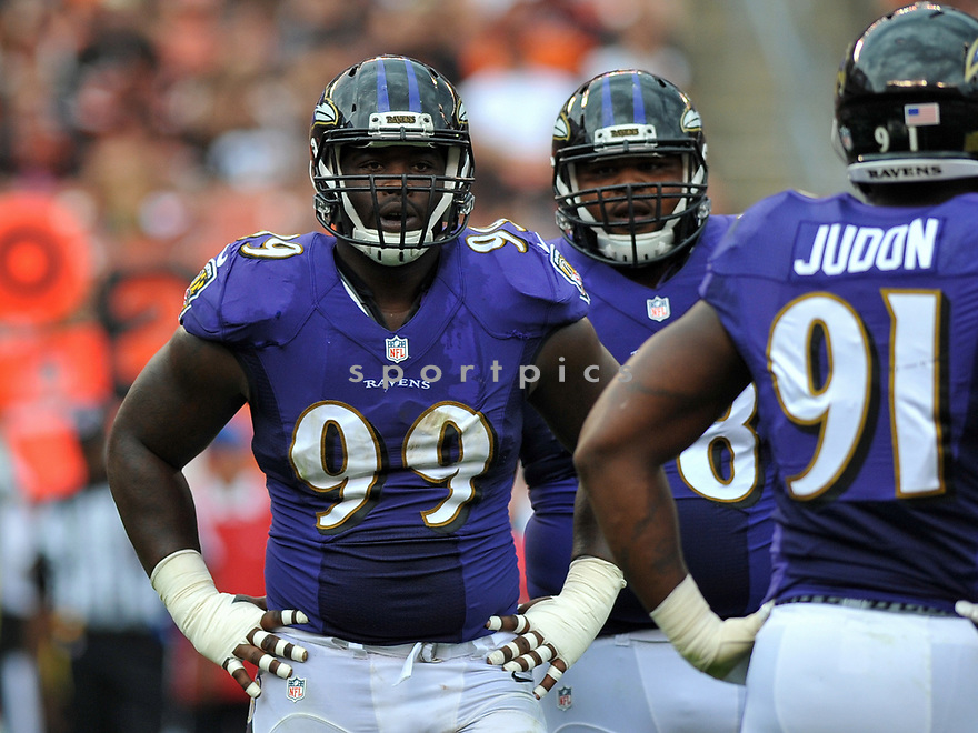CLEVELAND, OH - JULY 18, 2016: Defensvie tackle Timmy Jernigan #99 of the Baltimore Ravens stands on the field in the second quarter of a game against the Cleveland Browns on July 18, 2016 at FirstEnergy Stadium in Cleveland, Ohio. Baltimore won 25-20. (Photo by: 2017 Nick Cammett/Diamond Images)  *** Local Caption *** Timmy Jernigan(SPORTPICS)