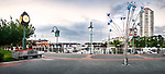 Panoramic view of Nanaimo Waterfront harbour and a clock on a summer evening. Vancouver Island, British Columbia, Canada 2017.