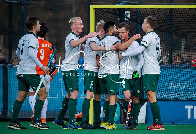 BLOEMENDAAL - Kane Russell (Rdam) scoort 1-1  tijdens  hoofdklasse competitiewedstrijd  heren , Bloemendaal-Rotterdam (1-1) . COPYRIGHT KOEN SUYK