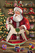 Interlitho, CHRISTMAS SANTA, SNOWMAN, WEIHNACHTSMÄNNER, SCHNEEMÄNNER, PAPÁ NOEL, MUÑECOS DE NIEVE, paintings+++++,santa, rocking horse,KL6085,#X# ,Marcello