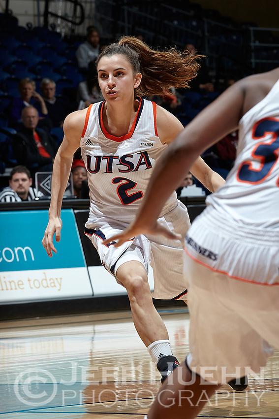 SAN ANTONIO, TX - JANUARY 8, 2014: The University of Tulsa Golden Hurricane versus the University of Texas at San Antonio Roadrunners Women's Basketball at the UTSA Convocation Center. (Photo by Jeff Huehn)