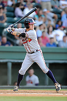 Third baseman Jordan Edgerton (13) of the Rome Braves bats in a game against the Greenville Drive on Monday, June 15, 2015, at Fluor Field at the West End in Greenville, South Carolina. Greenville won, 9-3. (Tom Priddy/Four Seam Images)