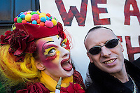 Members of the LGBT community protest at the sudden closure of the Black Cap pub in Camden North London 18-4-15