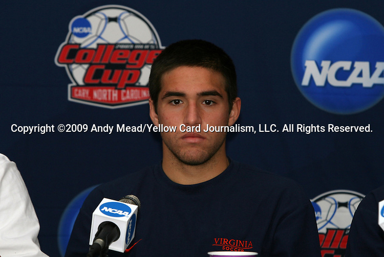 10 December 2009: Senior midfielder Neil Barlow. The University of Virginia Cavaliers held a press conference at WakeMed Soccer Stadium in Cary, North Carolina on the day before playing Wake Forest in an NCAA Division I Men's College Cup semifinal game.
