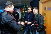 Pictured: (L-R) Angel Rangel and Roque Mesa of Swansea City <br /> Re: Swansea City FC Christmas party at the Liberty Stadium, Wales, UK. Thursday 14 December 2017