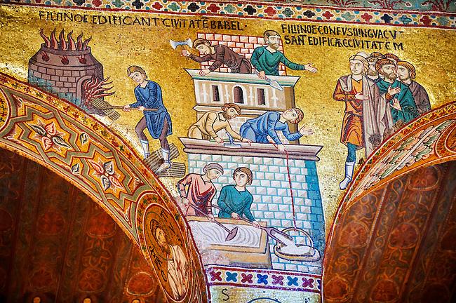 Byzantine mosaics at the Palatine Chapel ( Capella Palatina ) Norman Palace Palermo, Sicily, Ittaly. Building the tower of Babel.