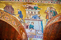 Byzantine mosaics at the Palatine Chapel ( Capella Palatina ) Norman Palace Palermo, Sicily, Ittaly. Building the tower of Babel.