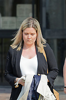 Pictured: Laura Hicks leaves Swansea Crown Court. Wednesday 17 April 2019<br /> Re: Laura Hicks from Haverfordwest, cleared by Swansea Crown Court, for not disclosing to her employers, the Hywel Dda Health board, that she had been overpaid by almost £20,000.
