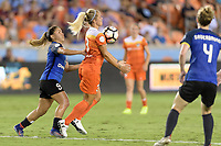 Houston, TX - Sunday August 13, 2017: Lo'eau Labonta and Rachel Daly during a regular season National Women's Soccer League (NWSL) match between the Houston Dash and FC Kansas City at BBVA Compass Stadium.
