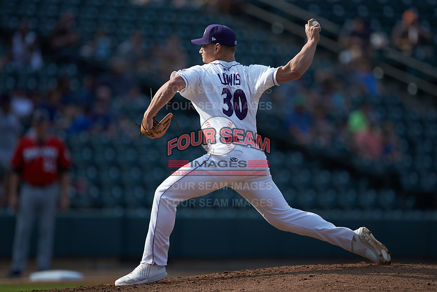 Winston-Salem Dash relief pitcher Zach Lewis (30) in action against the Carolina Mudcats at BB&T Ballpark on June 1, 2019 in Winston-Salem, North Carolina. The Mudcats defeated the Dash 6-3 in game one of a double header. (Brian Westerholt/Four Seam Images)