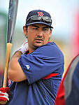 8 March 2012: Boston Red Sox first baseman Adrian Gonzalez awaits his turn in the batting cage prior to a Spring Training game against the St. Louis Cardinals at Roger Dean Stadium in Jupiter, Florida. The Cardinals defeated the Red Sox 9-3 in Grapefruit League action. Mandatory Credit: Ed Wolfstein Photo