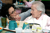 "Speech therapist, Lucy Rosenberg goes over chewing with Greenwood House patient Eva Goldstein on Thursday February 17, 2005...The Greenwood House Home For The Jewish Aged in Ewing, New Jersey... The Greenwood House is 70 % Medicaid.  The staff to patient ratio mandate per hour per resident on medicaid is 2.5, at The Greenwood House it is 3.5 hours. If facilities provided the minmum care, mandated by medicaid, states would penalize nursing care homes...""It's a Catch-22"", states Rick Goldstein director of The Greenwood House Home for the Jewish Aged.....Each year the Greenwood House has a $500,000 deficit from medicaid that must be made up. This is done with fundraisers, galas and annual memberships.  Jane Therese/Sipa.."