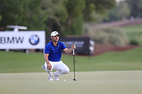 Jordan Smith (ENG) on the 18th green during the 2nd round of the DP World Tour Championship, Jumeirah Golf Estates, Dubai, United Arab Emirates. 16/11/2018<br /> Picture: Golffile | Fran Caffrey<br /> <br /> <br /> All photo usage must carry mandatory copyright credit (© Golffile | Fran Caffrey)