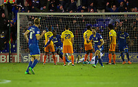 Adebayo Azeez of AFC Wimbledon (2nd from right) celebrates scoring the equaliser to make kit 1-1 during the Sky Bet League 2 match between AFC Wimbledon and Wycombe Wanderers at the Cherry Red Records Stadium, Kingston, England on 21 November 2015. Photo by Alan  Stanford/PRiME.