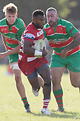 Sunia Vosikata breaks past Ryan Stewart and Allen Poa. Counties Manukau Premier 1 Club Rugby game between Karaka and Waiuku, played at the Karaka Sports Park on Saturday May 11th 2019. Karaka won the game 33 - 14 after leading 14 - 7 at halftime.<br /> Photo by Richard Spranger.