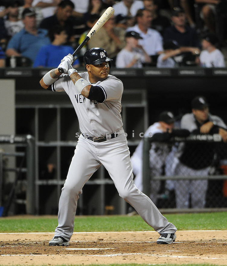 New York Yankees Andruw Jones (22) in action during a game against the Chicago White Sox on August 22, 2012 at US Cellular Field in Chicago, IL. The White Sox beat the Yankees 2-1.