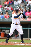 Montgomery Biscuits outfielder Jeff Malm (23) at bat during a game against the Mississippi Braves on April 22, 2014 at Riverwalk Stadium in Montgomery, Alabama.  Mississippi defeated Montgomery 6-2.  (Mike Janes/Four Seam Images)