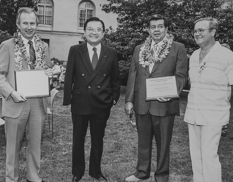 Joe Wilson, Sen. Daniel Inouye, D-Hawaii, Rep. Heather Giugni, D-Hawaii, and Ron Ledlow, New President of Service Staff Club. 1988 (Photo by CQ Roll Call via Getty Images)
