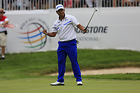 Hideki Matsuyama (JPN) sinks his birdie putt on the 18th green to win the tournament by 5 shots after shooting 61 during Sunday's Final Round of the WGC Bridgestone Invitational 2017 held at Firestone Country Club, Akron, USA. 6th August 2017.<br /> Picture: Eoin Clarke | Golffile<br /> <br /> <br /> All photos usage must carry mandatory copyright credit (&copy; Golffile | Eoin Clarke)