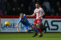 Danny Newton of Stevenage tangles with Terry Hawkridge of Notts County during Stevenage vs Notts County, Sky Bet EFL League 2 Football at the Lamex Stadium on 11th November 2017