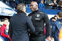 Swansea City manager Carlos Carvalhal shakes hands with West Bromwich Albion interim caretake manager Darren Moore prior to kick off of the Premier League match between Swansea City and West Bromwich Albion at the Hawthorns Stadium, Birmingham, England, UK. Saturday 07 April 2018