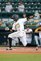Bradenton Marauders shortstop Alen Hanson (22) during a game against the Lakeland Flying Tigers July 22, 2013 at McKechnie Field in Bradenton, Florida.  Bradenton defeated Lakeland 9-5.  (Mike Janes/Four Seam Images)