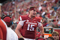 Hawgs Illustrated/BEN GOFF <br /> Cole Kelley, Arkansas quarterback, watches from the bench in the fourth quarter Saturday, Nov. 4, 2017, at Reynolds Razorback Stadium in Fayetteville.
