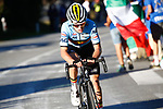 Remco Evenepoel (BEL) leads the Men Junior Road Race of the 2018 UCI Road World Championships running 132.4km from Wattens to Innsbruck, Innsbruck-Tirol, Austria 2018. 27th September 2018.<br /> Picture: Innsbruck-Tirol 2018/BettiniPhoto | Cyclefile<br /> <br /> <br /> All photos usage must carry mandatory copyright credit (© Cyclefile | Innsbruck-Tirol 2018/BettiniPhoto)