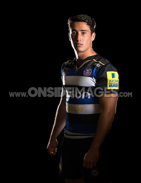 Brett Herron poses for a portrait in the 2015/16 home kit during a Bath Rugby photocall on September 8, 2015 at Farleigh House in Bath, England. Photo by: Patrick Khachfe / Onside Images