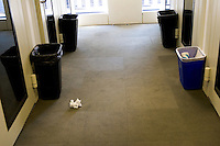 NEW YORK - APRIL 19: Space is at a premium in some of the studios, so waste baskets are placed outside at Sirius Headquarters on April 19, 2005 in New York City. ((Photo by Landon Nordeman)
