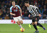 Burnley's Chris Wood and Newcastle United's Fabian Schar<br /> <br /> Photographer Rachel Holborn/CameraSport<br /> <br /> The Premier League - Burnley v Newcastle United - Monday 26th November 2018 - Turf Moor - Burnley<br /> <br /> World Copyright &copy; 2018 CameraSport. All rights reserved. 43 Linden Ave. Countesthorpe. Leicester. England. LE8 5PG - Tel: +44 (0) 116 277 4147 - admin@camerasport.com - www.camerasport.com
