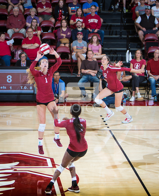 STANFORD, CA - September 9, 2018: Jenna Gray, Audriana Fitzmorris, Tami Alade at Maples Pavilion. The Stanford Cardinal defeated #1 ranked Minnesota 3-1 in the Big Ten / PAC-12 Challenge.