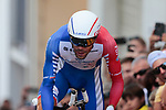 Thibaut Pinot (FRA) Groupama-FDJ on the 17% climb during Stage 13 of the 2019 Tour de France an individual time trial running 27.2km from Pau to Pau, France. 19th July 2019.<br /> Picture: Colin Flockton | Cyclefile<br /> All photos usage must carry mandatory copyright credit (© Cyclefile | Colin Flockton)