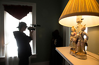 NWA Democrat-Gazette/BEN GOFF @NWABENGOFF<br /> Evan Keith, an Arkansas Arts Academy student, films B-roll footage Friday, March 2, 2018, as students from Arkansas Arts Academy film for a project at the Peel Mansion Museum and Heritage Gardens in Bentonville. High school students from the school's audio visual class and theater program are collaborating to produce a 15 minute short film about the Peel Mansion as an entry for the Arkansas Educational Television Network's Student Selects competition for young filmmakers. The film includes interviews with people involved in the museum as well as vignettes of moments in the 1875 home's history with theater students portraying historical figures.