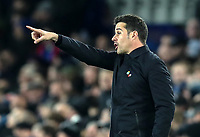 23rd  November 2019; Goodison Park , Liverpool, Merseyside, England; English Premier League Football, Everton versus Norwich City; Everton Manager Marco Silva points from the touchline as his team trail 0-1 - Strictly Editorial Use Only. No use with unauthorized audio, video, data, fixture lists, club/league logos or 'live' services. Online in-match use limited to 120 images, no video emulation. No use in betting, games or single club/league/player publications