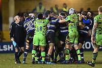 Tempers flare between the two sides. Anglo-Welsh Cup Semi Final, between Bath Rugby and Northampton Saints on March 9, 2018 at the Recreation Ground in Bath, England. Photo by: Patrick Khachfe / Onside Images