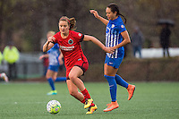 Allston, MA - Sunday, May 1, 2016:  Portland Thorns FC midfielder Lindsey Horan (7) and Boston Breakers midfielder Kyah Simon (17) in a match at Jordan Field, Harvard University.