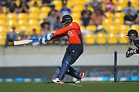 Chris Jordan hits a six. Twenty20 International cricket match between NZ Black Caps and England at Westpac Stadium in Wellington, New Zealand on Sunday, 3 November 2019. Photo: Dave Lintott / lintottphoto.co.nz