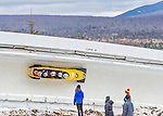9 January 2016: Germany pilot Nico Walther leads his 4-man team as they slide through Curve 14 during their second run of the day at the BMW IBSF World Cup Bobsled Championships at the Olympic Sports Track in Lake Placid, New York, USA. Walther's team ended the day in 13th place with a 2-run combined time of 1:51.23. Mandatory Credit: Ed Wolfstein Photo *** RAW (NEF) Image File Available ***