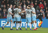 West Ham United's Mark Noble is congratulated after scoring his side's first goal   <br /> <br /> Photographer Rob Newell/CameraSport<br /> <br /> The Premier League - Saturday 9th February 2019  - Crystal Palace v West Ham United - Selhurst Park - London<br /> <br /> World Copyright © 2019 CameraSport. All rights reserved. 43 Linden Ave. Countesthorpe. Leicester. England. LE8 5PG - Tel: +44 (0) 116 277 4147 - admin@camerasport.com - www.camerasport.com