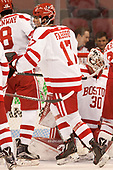 Dante Fabbro (BU - 17) - The visiting Merrimack College Warriors defeated the Boston University Terriers 4-1 to complete a regular season sweep on Friday, January 27, 2017, at Agganis Arena in Boston, Massachusetts.The visiting Merrimack College Warriors defeated the Boston University Terriers 4-1 to complete a regular season sweep on Friday, January 27, 2017, at Agganis Arena in Boston, Massachusetts.
