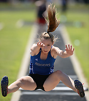 NWA Democrat-Gazette/ANDY SHUPE<br /> Georgia Brain of Rogers leaps Wednesday, May 15, 2019, while competing in the long jump portion of the state heptathlon championship at Ramay Junior High School. Visit nwadg.com/photos to see more photographs from the meet.
