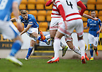 St Johnstone v Hamilton Accies....016.01.16  SPFL  McDiarmid Park, Perth<br /> David Wotherspoon's shot is blocked<br /> Picture by Graeme Hart.<br /> Copyright Perthshire Picture Agency<br /> Tel: 01738 623350  Mobile: 07990 594431