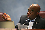 Nevada Sen. Kelvin Atkinson, D-North Las Vegas, works in committee at the Legislative Building in Carson City, Nev., on Monday, May 11, 2015.<br /> Photo by Cathleen Allison