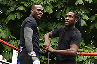 Nathaniel Wilson (L) during a Public Work Out at ITV Head Office on 12th July 2017