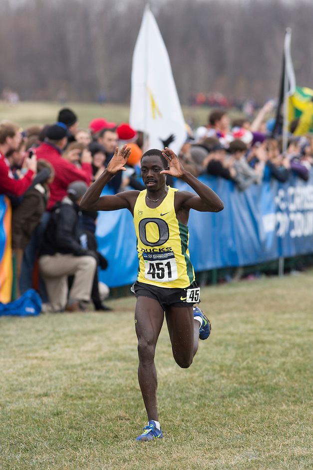 Oregon's Edward Cheserek (451) reacts as he wins the men's race during the NCAA Cross Country Championships in Terre Haute, Ind. on Saturday, Nov. 22, 2014. (James Brosher, Special to the Denver Post)