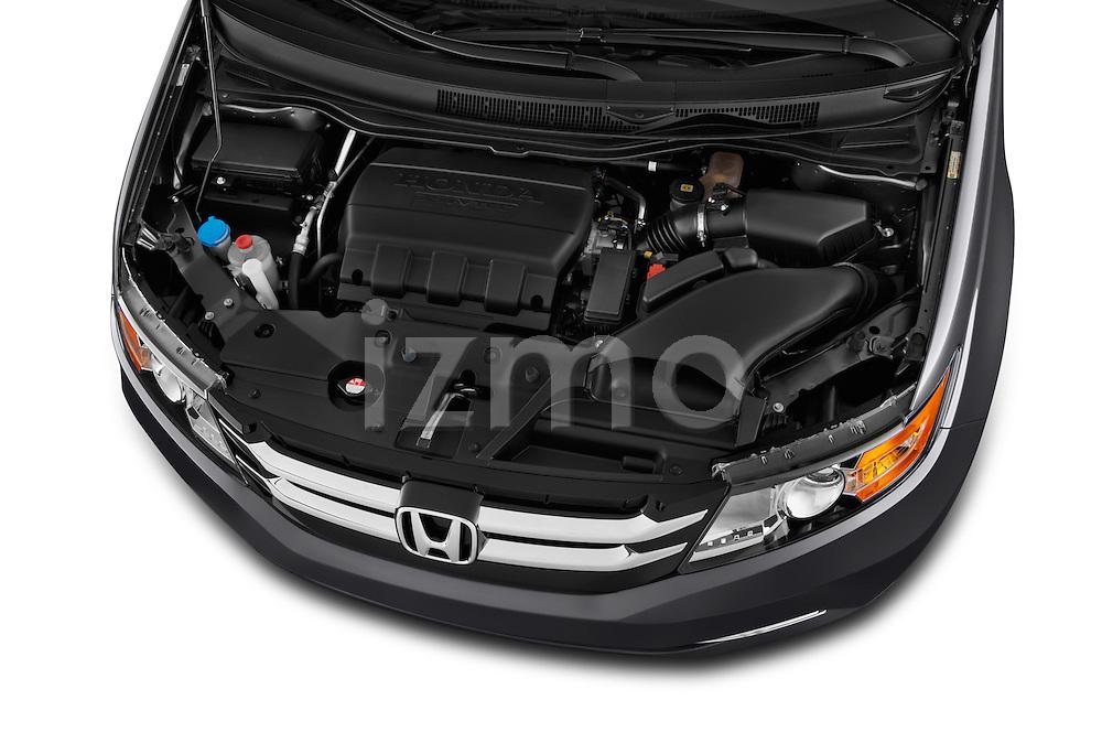 High angle engine detail of a 2014 Honda Odyssey EX-L