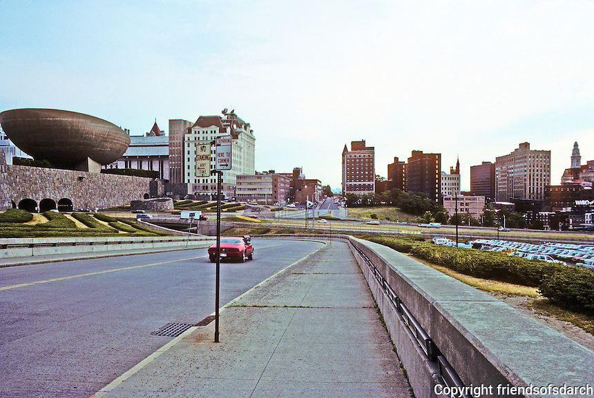 "Albany: Acres of emptiness bordering east side of Albany Mall, or rather, ""Empire State Plaza"".  Photo '88."