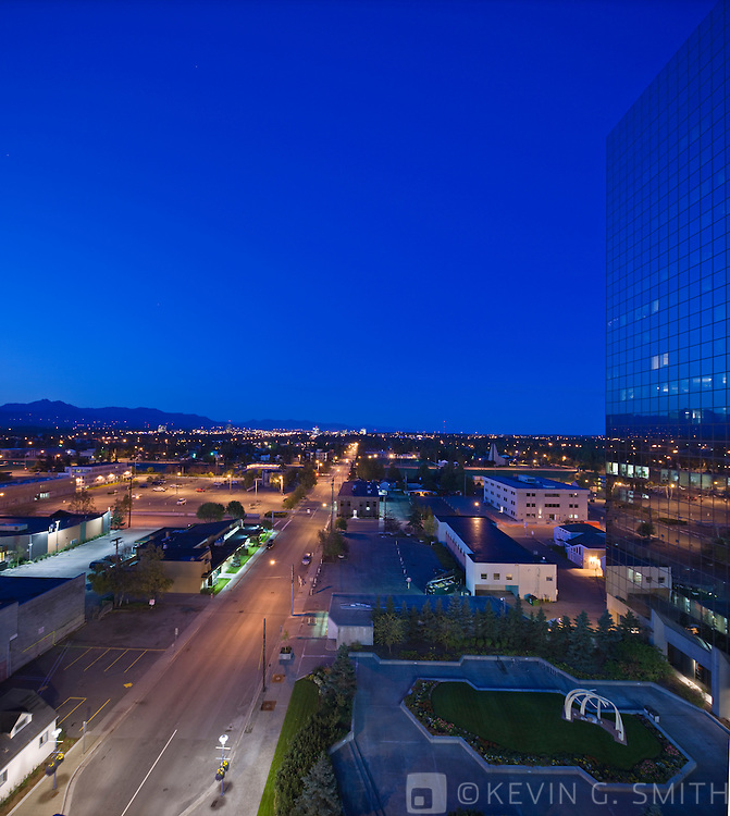 Twilight view of downtown Anchorage just before sunrise, late summer, downtown Anchorage, Southcentral Alaska, USA.