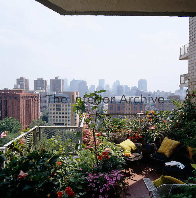 The balcony overlooking downtown Manhattan has been turned into a lush garden of flowers and fruit trees
